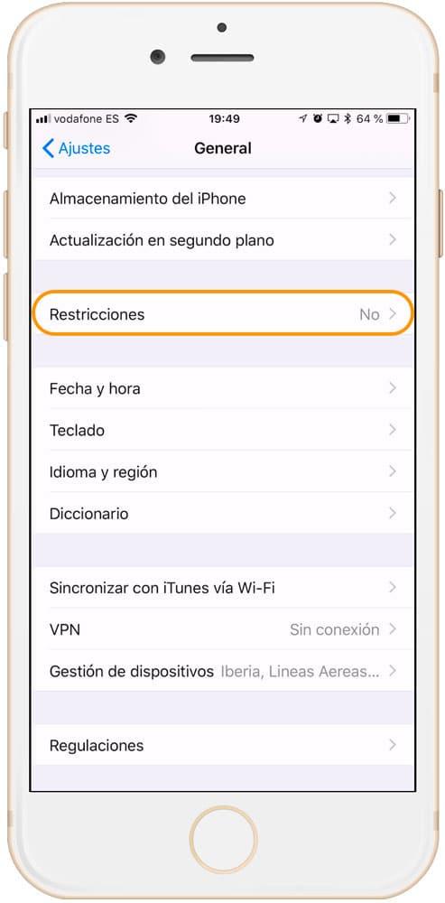 Restricciones en iOS para control parental