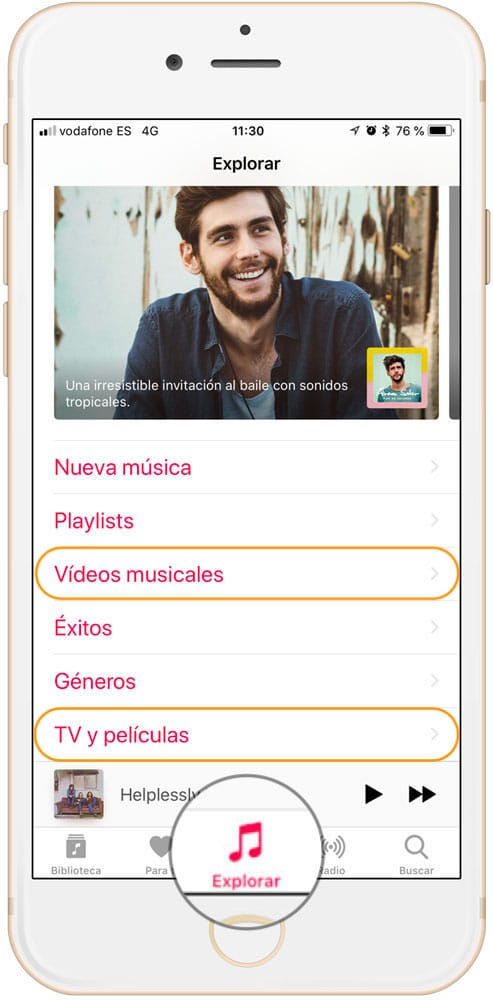Sección explorar para ver videos musicales en Apple Music