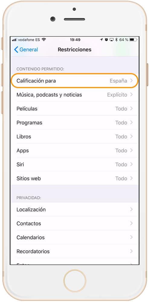 contenido permitido en las restricciones del control parental iPad