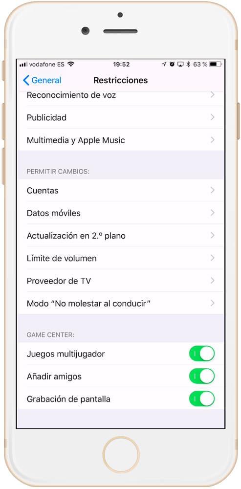 Permitir cambios de las restricciones del iPhone