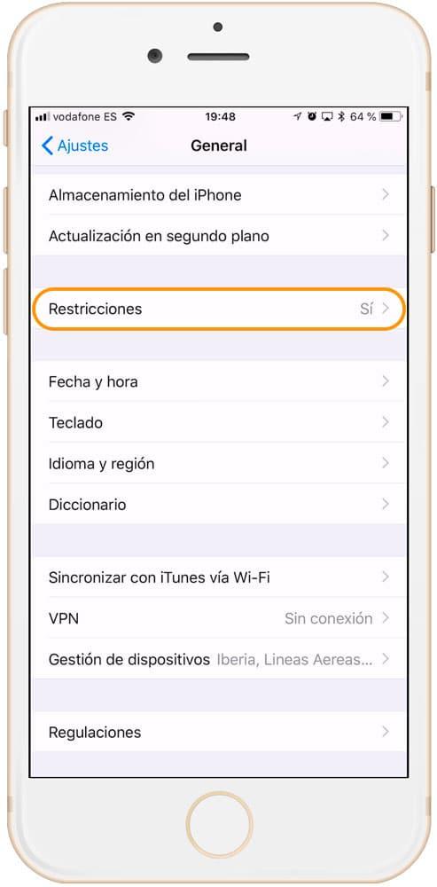 Restricciones activadas en iPhone y iPad