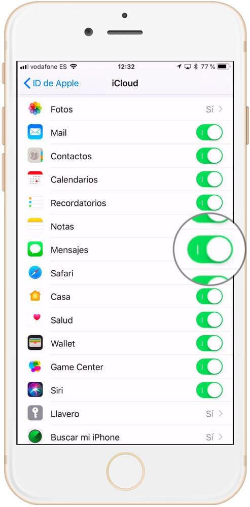 Ajuste para activar mensajes en iCloud en tu iPhone