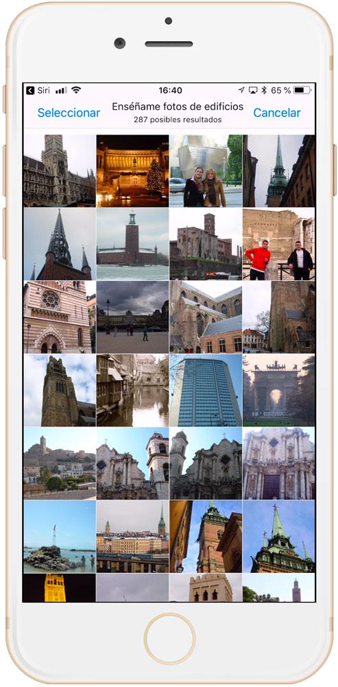 Resultados de Siri al buscar fotos en iPhone y iPad
