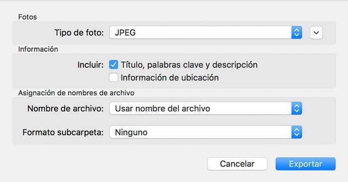 Exportar imágenes al pasar fotos de iCloud a PC o Mac