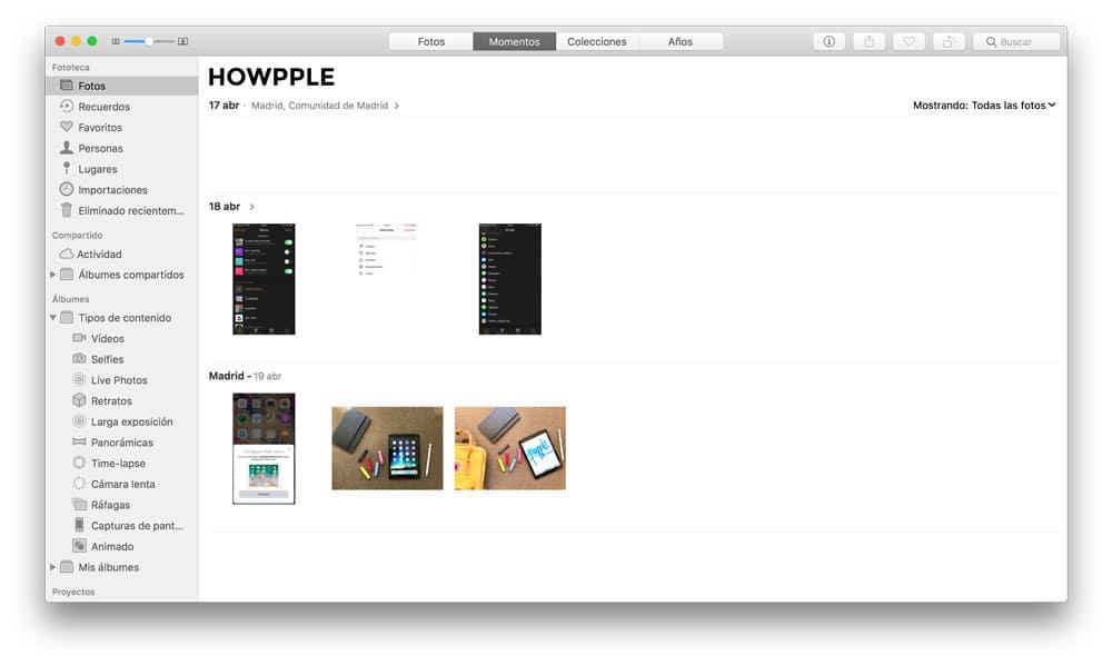 Aplicación fotos en Mac para pasar fotos de iCloud a PC