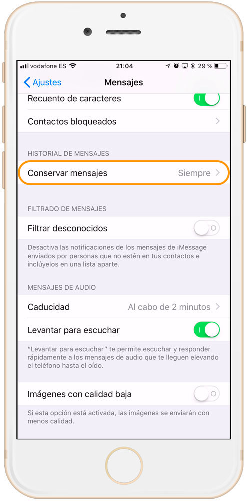 Ajustes mensajes Apple