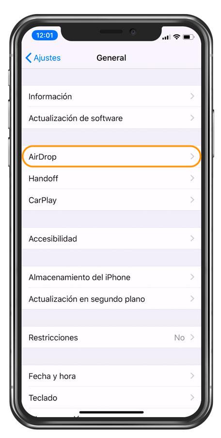 ajustes AirDrop para compartir fotos en iPhone