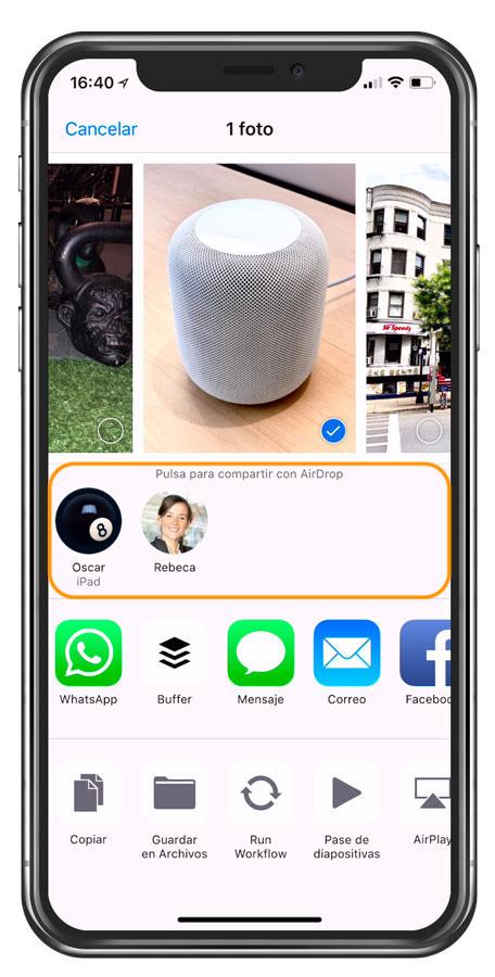 Compartir fotos en iPhone usando AirDrop