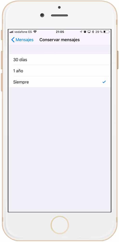 Ajustar Caducidad mensajes de Apple