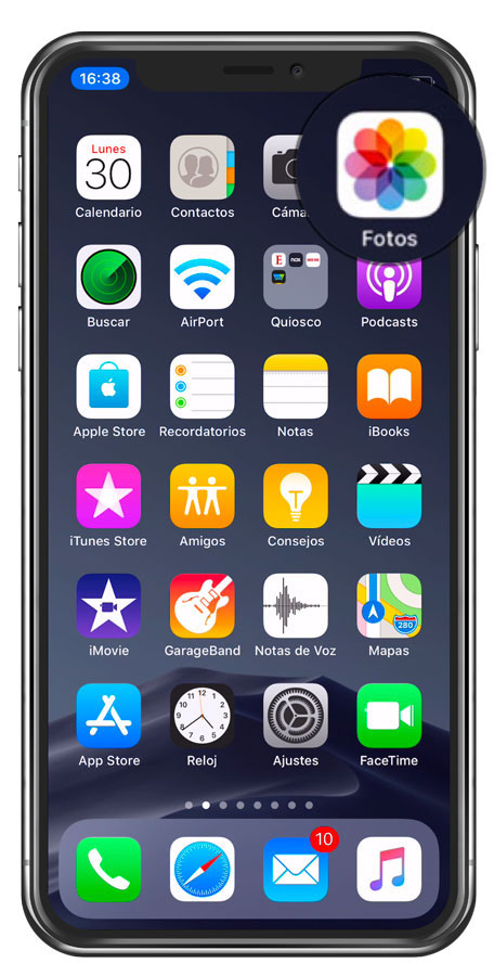 Aplicación fotos en iPhone x