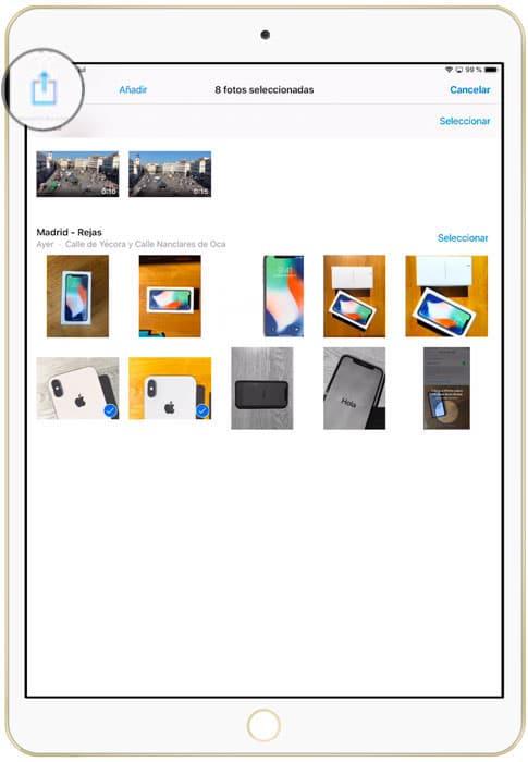 Boton compartir fotos y videos en iOS
