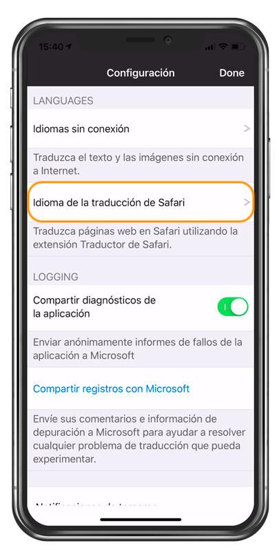 Selección de idioma para traducir web en iPhone
