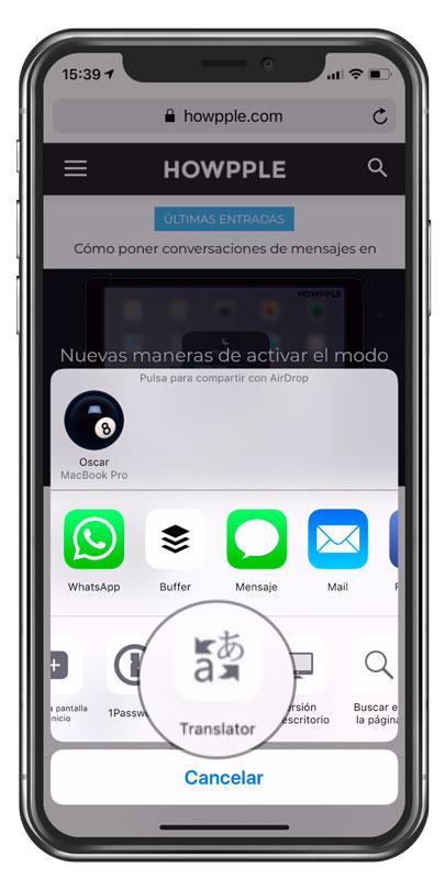 Aplicación para traducir en iPhone