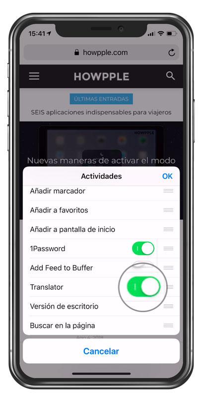 Añadir extension de aplicación para traducir web en iPhone
