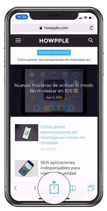 Menú compartir para activar extension aplicación para traducir webs