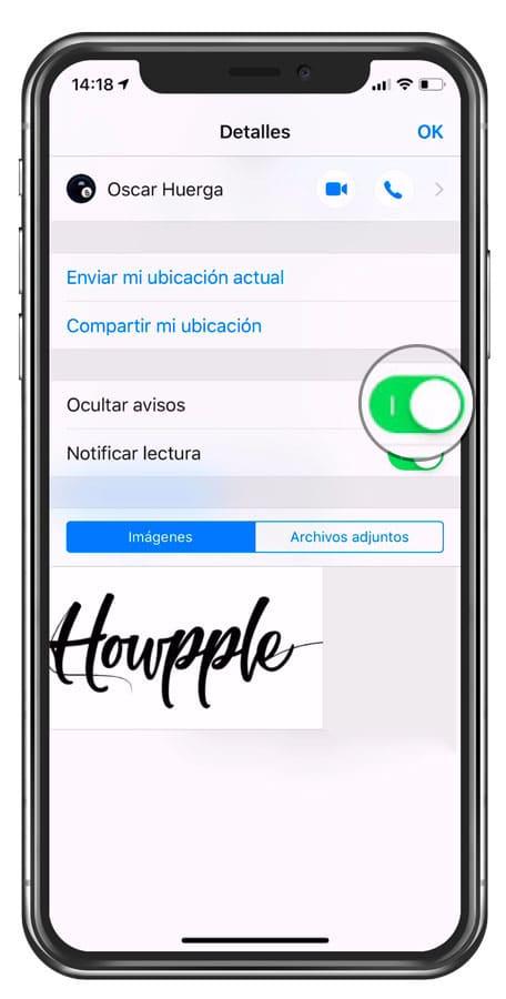 mensajes en modo no molestar para iPhone