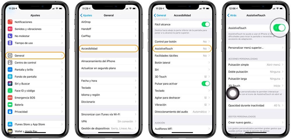 Cómo activar Assistive Touch en iOS para resetear la RAM en iPhone X, iPhone XS y iPhone XR