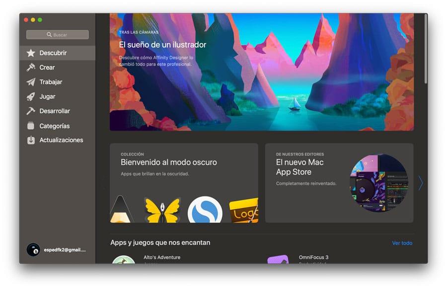 App Store Modo oscuro macOS Mojave