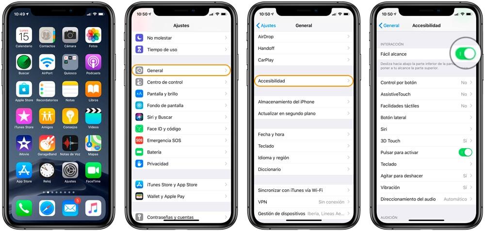Aprende Cómo activar fácil alcance o Reachability en iPhone XS y iPhone XR