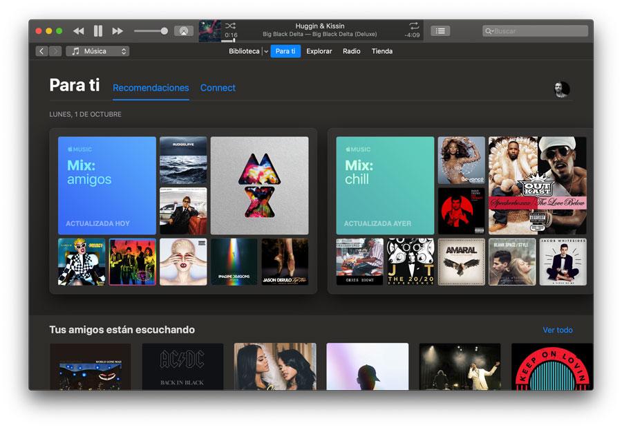 iTunes Modo oscuro macOS Mojave