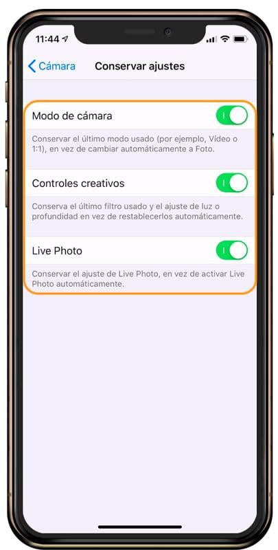 Cómo conservar los ajustes de la cámara del iPhone