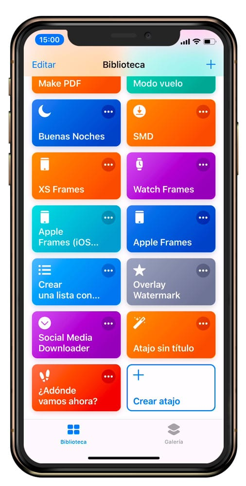 Aplicación atajos de iOS