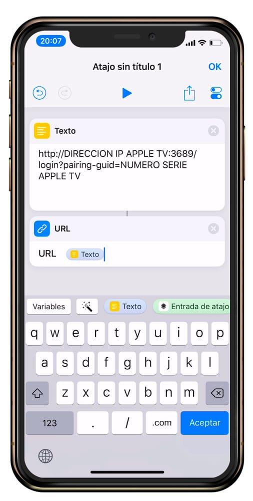 Crear atajo de iOS para encender Apple TV