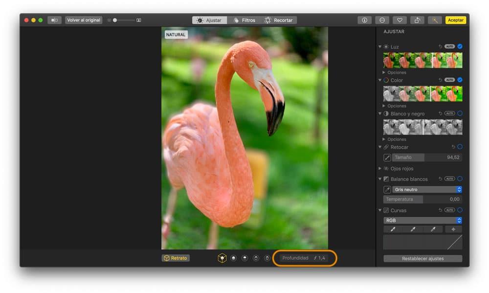 Deslizador para Desenfoque del modo retrato desde el Mac