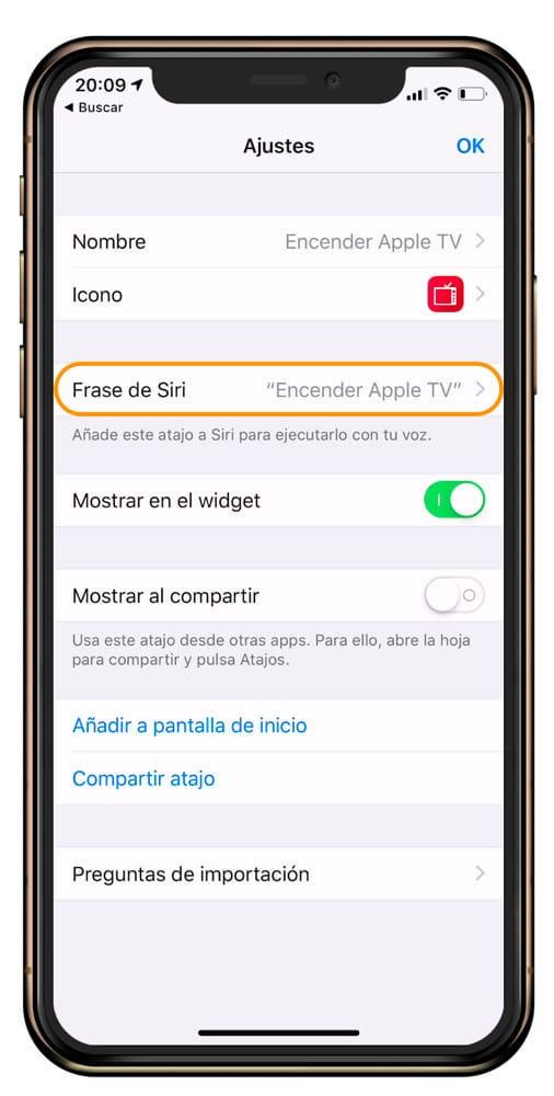 Grabar frase de Siri de un atajo