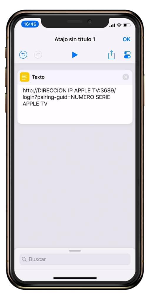 Texto en atajos de iOS
