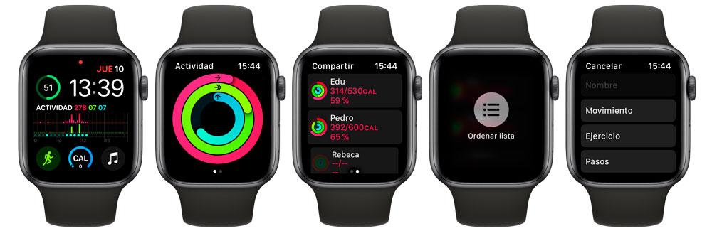 Cómo ordenar la lista de competidores en Apple Watch