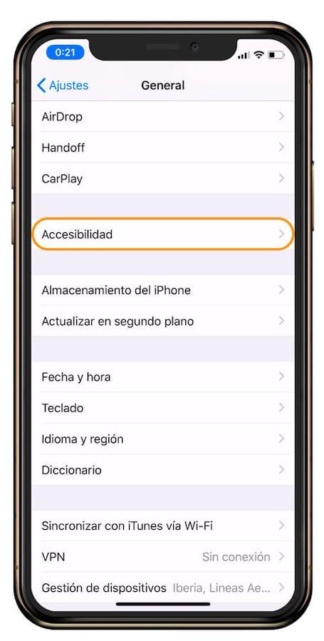 Ajustes de visualizacion de iOS
