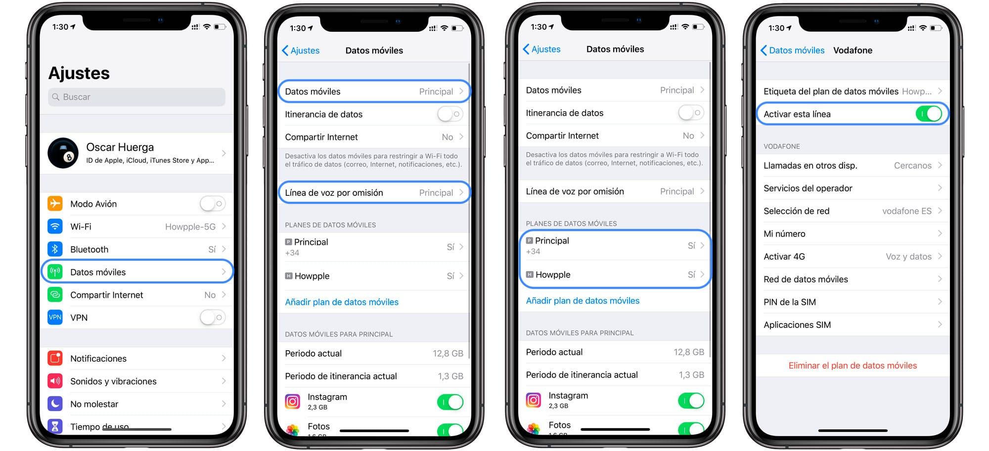 Ajustes linea eSIM iPhone XS datos y voz