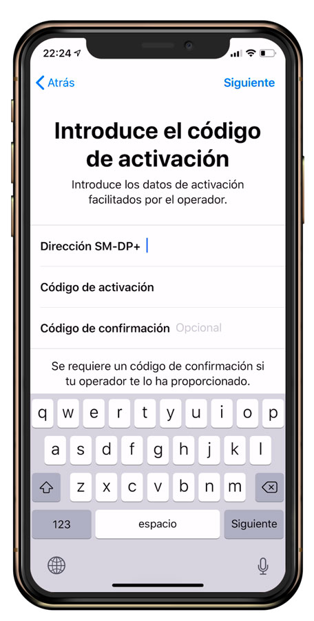 eSIM iPhone datos manuales