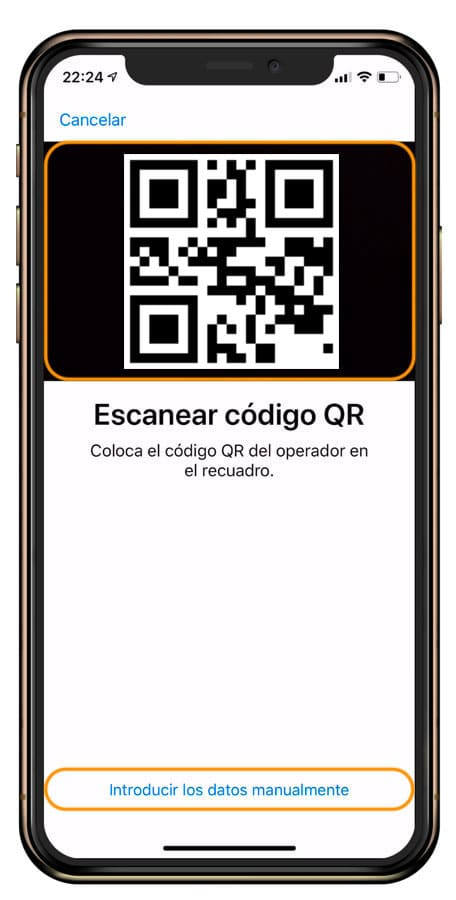 código QR Datos móviles eSIM iPhone
