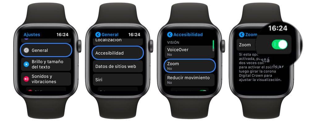 Pasos para aumentar el tamaño de los iconos en Apple Watch