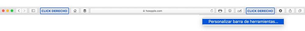 Click derecho para personalizar Safari en Mac