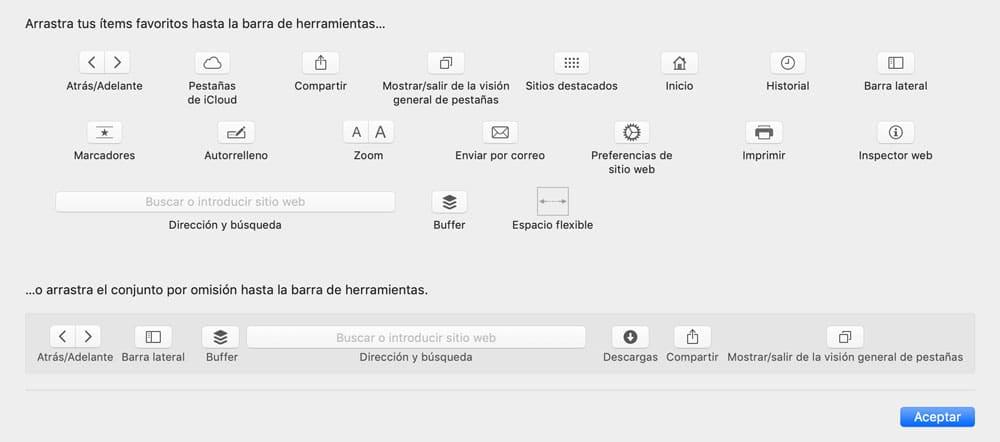 Cuadro de personalización de la barra de herramientas Safari para más