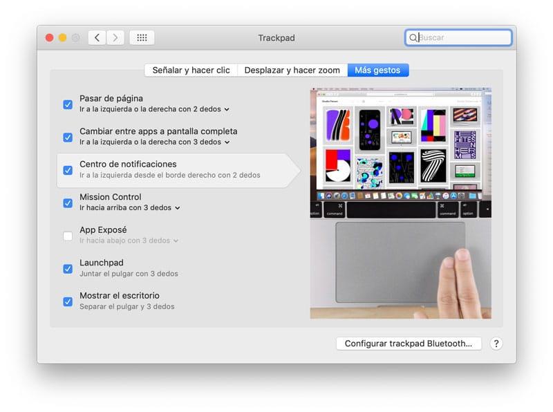 Usar el Trackpad para abrir el centro de notificaciones en Mac