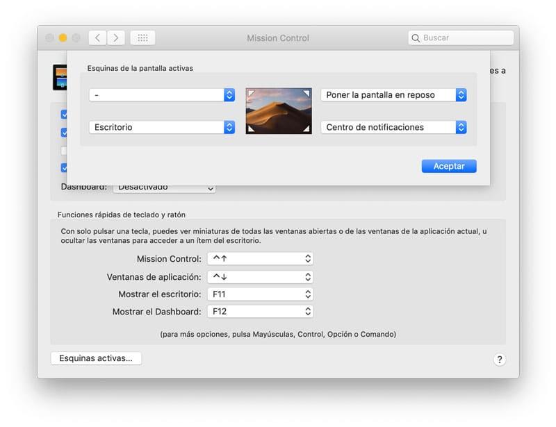 Usar las esquinas activas para acceder al centro de notificaciones en macOS