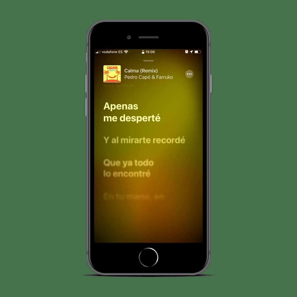 Letras de canciones beta de iOS 13