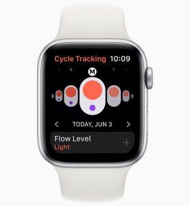 aplicacion periodo mujer Cycle Tracking watchOS 6