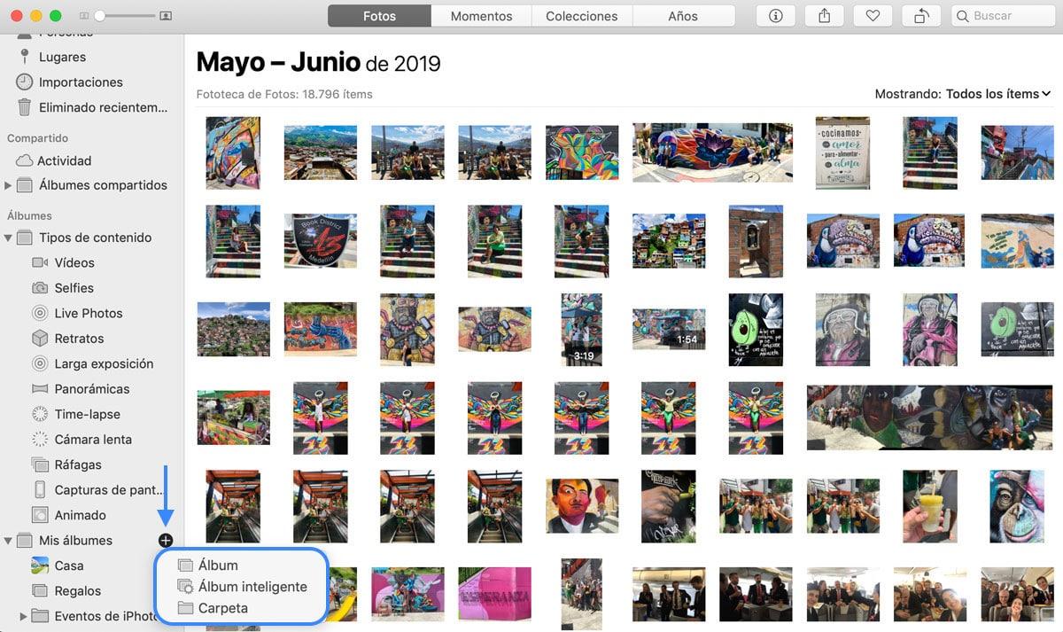 crear carpetas de fotos en Mac