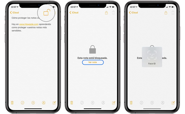 Cómo proteger notas de iPhone