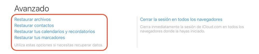 versión web de iCloud para recuperar contactos
