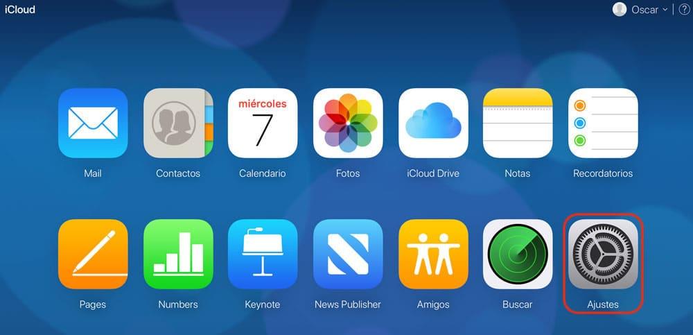 Versión web de iCloud para recuperar calendario