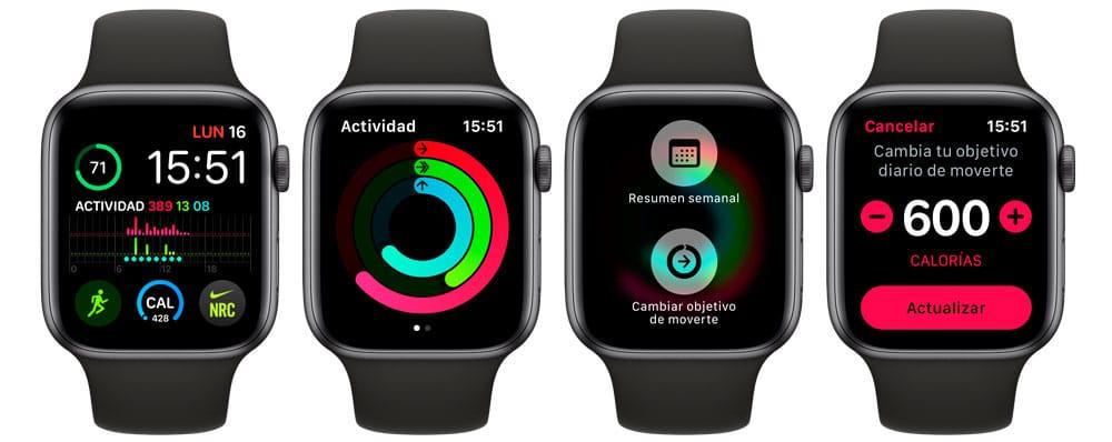 cambiar las calorías en Apple Watch