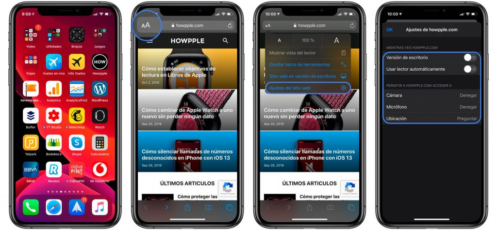 Opciones de Safari en iOS 13