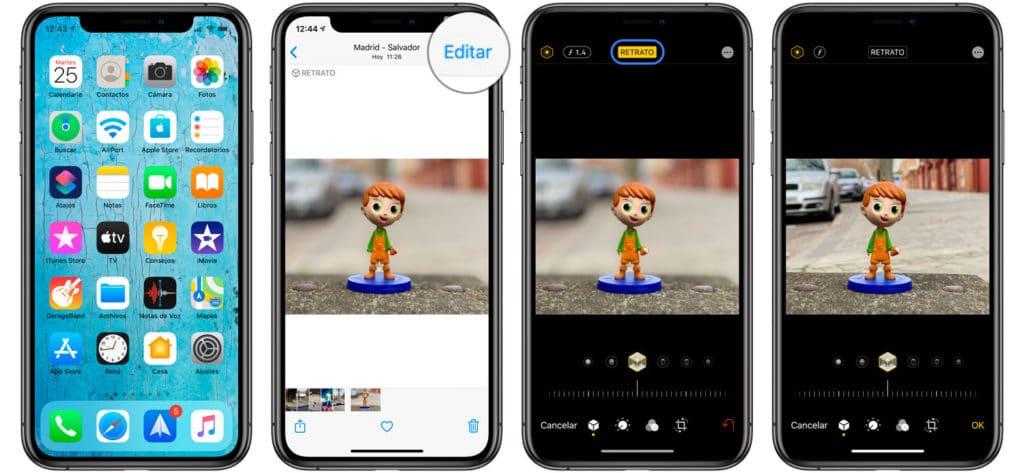 eliminar desenfoque modo retrato en iPhone y iPad
