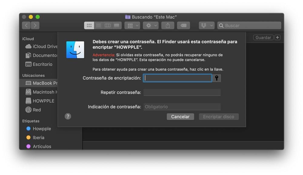 contraseña para encriptar memoria USB en Mac